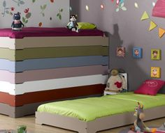 Stacking Beds available in a wide range of pastel colours designed for small spaces and large families.