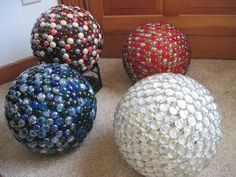Garden gazing balls from old bowling balls, now to find old bowling balls.