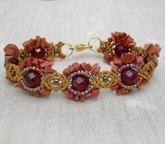 Nouveau Bracelet with Red Sandstone Chip by Knotgypsy, via Flickr