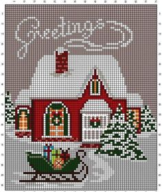 Vintage Embroidery Patterns - Embroidery Patterns - A Retro Noel by Nurdan Kanber - Cross Stitch House, Xmas Cross Stitch, Cross Stitch Charts, Cross Stitch Designs, Cross Stitching, Cross Stitch Embroidery, Cat Cross Stitches, Christmas Embroidery Patterns, Embroidery Ideas