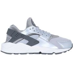 Nike Women Air Huarache Run Mesh Sneakers ($160) ❤ liked on Polyvore featuring shoes, athletic shoes, silver, leather upper shoes, mesh shoes, nike footwear, nike shoes and synthetic shoes