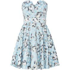 tfnc Sweetheart Neck Fit and Flare Dress (190 BRL) ❤ liked on Polyvore featuring dresses, vestidos, short dresses, floral, women, light blue, light blue dress, light blue floral dress, short floral dresses and blue fit and flare dress