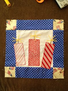 4th of July, Firecracker- 12 1/2 inch quilt block