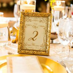"vintage gold framed table numbers or with photo display of you and mike--or with the word ""LOVE"" in one letter of each frame?"
