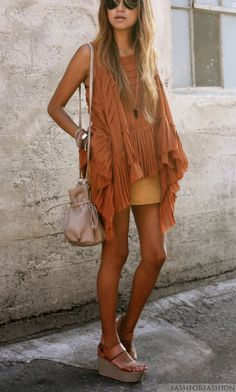 Something about this looks bohemian and  hippy-ish and I like it. The sandals look comfy even with the added height.