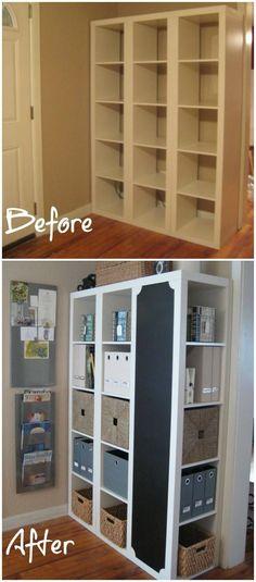 DIY bookcase with Storage & Chalkboard