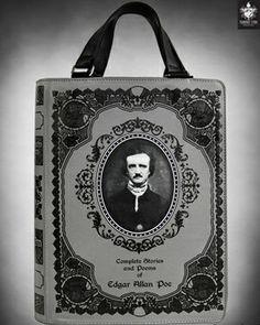 Amazing 'Edgar Allan Poe' Grey Book Bag from 'Frankie Lynn's Emporium'. www.frankielynnemporium.com