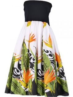 Hula Tube Top Dress with Bird of Paradise print / White  / G1817w