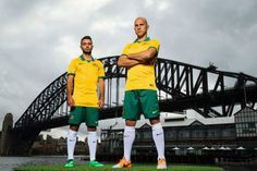 Current Socceroos Mark Bresciano and Michael Zullo wearing the National Team Kit.