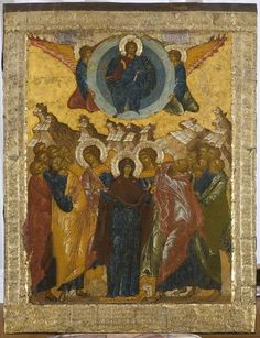 Ascension of Jesus in Christian art Byzantine Icons, Byzantine Art, Russian Icons, Russian Art, Religious Icons, Religious Art, Ascension Of Jesus, Medieval Paintings, Best Icons
