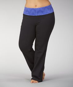 This Black & Royal Blue Chevron Yoga Pants - Plus is perfect! #zulilyfinds