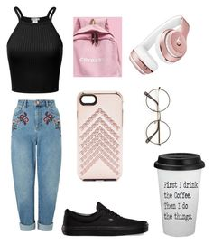 """""""First coffe"""" by emo-flower on Polyvore featuring Miss Selfridge, Vans, Beats by Dr. Dre and Rebecca Minkoff"""
