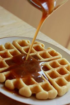 Buttermilk waffles.  Made them this morning, with the homemade caramel syrup. It was worth the work.