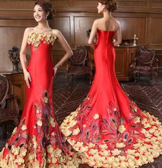 2013 Fish tail gold flower embroidery quality evening dress silk Fire