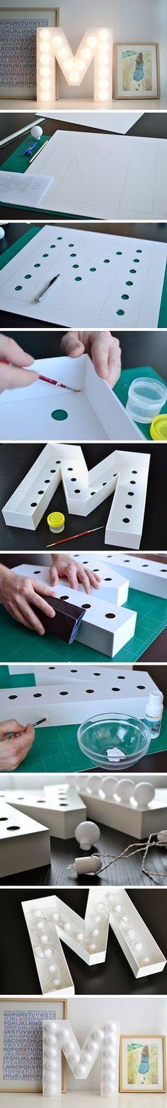 Schöne Idee für ein Licht im Kinderzimmer oder Flur!