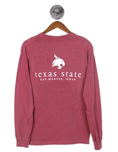 Show your Bobcat pride in this simple long sleeve tee! Texas State Bobcats, Texas State University, Comfort Colors, Vinyl Designs, Barefoot, Brick, Addiction, Long Sleeve Tees, College