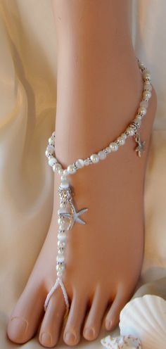 Tropical Beach Barefoot Sandals made for the Barefoot Bride and Bridesmaid, if there was going to be a beach wedding Bare Foot Sandals, Beach Sandals, Wedding Shoes, Dream Wedding, Beach Wedding Footwear, Brides And Bridesmaids, Ankle Bracelets, Anklets, Wedding Accessories