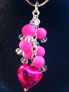 Pink beads with a large heart and silver chain key chain on Etsy, $6.00
