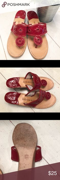 b144f518a4e8a9 Get ready with these adorable red Jack Rogers sandals Size 8 medium  (written on inside of strap) Good preowned. Shows wear on bottom ...