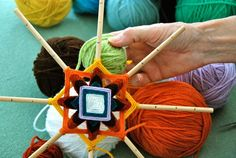 "I came across this great art project on Etsy for weaving your own Ojo de Dios. These stunning, brightly colored ""Eyes of God"" are made from simple sticks and colored yarn. All photos an… Art For Kids, Crafts For Kids, Arts And Crafts, Weaving Projects, Art Projects, God's Eye Craft, Gods Eye, Passementerie, Loom Weaving"
