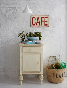 love it all...baskets, signs, and little night stands