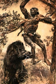Wounded by a Wild Boar, Zdeněk Burian, 1951 All those rhythms—the staccato shush of his legs against the tall the grass; the slap of his feet on the earth; the drumming of the hog's hooves, and its body plowing through the field, vegetation...
