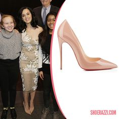 Katy Perry in Christian Louboutin So Kate Nude Patent Leather Pumps - ShoeRazzi