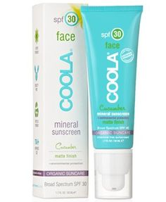 Face SPF 30: Cucumber Matte Finish - Coola.  Chemical free sunblock with a unique silky matte finish. Natural phyto-protectors - Certified Organic extracts - Age-defying antioxidants.  AMAZING STUFF!