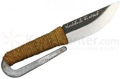 Kellam Knives HM10 Pocket Knife 2 inch Carbon Steel Blade, Sisal Wrapped Handle, Leather Sheath