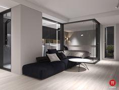 σαλόνι-χώρο-see-through-υπνοδωμάτιο-καμπίνα-low-lying-μαύρο-άσπρο-και-καναπέδες