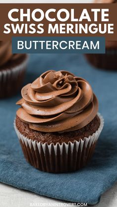 This Chocolate Swiss Meringue Buttercream. This Chocolate Swiss Meringue Buttercream recipe is a luscious frosting for cakes and cupcakes. Its less sweet than American buttercream and has a light silky texture. Chocolate Swiss Meringue Buttercream, Chocolate Frosting Recipes, Marshmallow Frosting, Vanilla Buttercream, Simple Chocolate Cupcake Recipe, Chocolate Icing For Cake, Chocolate Cupcakes From Scratch, Homemade Chocolate Buttercream Frosting, Chocolate Cupcakes Decoration