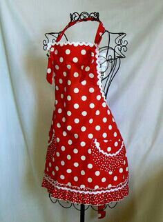Red polka dots full apron with white rick rack trim.