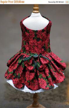 Items similar to Christmas Poinsettia Dog Dress on Etsy Pet Fashion, Animal Fashion, Dog Dresses, Little Dresses, American Girl, Christmas Poinsettia, Christmas Dog, Dog Clothes Patterns, Couture