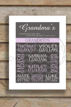 Print For Grandmother - Personalized Gift For Christmas or Birthday 8.5  X 11- Saying Can Be Personalized. $18.00, via Etsy.