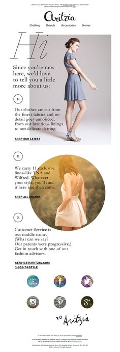 @aritzia  sent this email with the subject line: Let's Get to Know Each Other - Wow, incredible layout from Aritzia. I've seen more of this kind of thing recently. People really trying to break the standard email layout. I think its really interesting, although its completely non responsive and all image based. Read about this email and find more welcome emails at ReallyGoodEmails.com #ecommerce #welcome