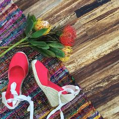 Currently obsessing over our new classic tall wedge in coral! #soludos #resort #espadrilles