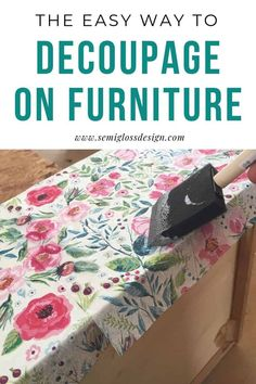 Learn how to decoupage furniture. This tutorial walks you through using paper napkins to add pattern to a dresser to create a floral decoupaged dresser. Diy Furniture Renovation, Furniture Projects, Furniture Makeover, Furniture Legs, Garden Furniture, Furniture Design, Decoupage Wood, Napkin Decoupage, Decoupage Dresser