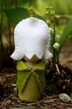 lily of the valley peg doll - one of my favorite flowers