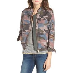 Women's Zadig & Voltaire Kavy Embroidered Utility Jacket (23.290 RUB) ❤ liked on Polyvore featuring outerwear, jackets, kaki, brown jacket, embroidery jackets, zadig voltaire jacket, utility jacket and cotton jacket