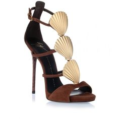 Giuseppe Zanotti Brown suede shell sandal (36.880 RUB) ❤ liked on Polyvore featuring shoes, sandals, brown, giuseppe zanotti, ankle tie shoes, shell shoes, ankle wrap sandals and giuseppe zanotti sandals