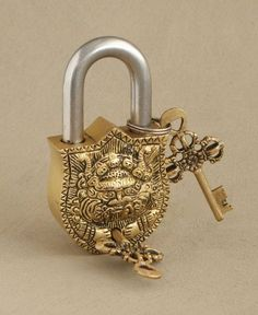 Antique Style Vajra Lock and Key Set, Brass