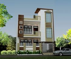 Front Elevation Design—HPL (High Pressure Laminates) from multi-storey homes in Agra House Outer Design, House Roof Design, House Outside Design, Village House Design, Kerala House Design, Home Building Design, Unique House Design, Bungalow House Design, Front Design Of House