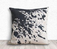 Linen Pillow Covers, Cushion Covers - Black Ink Splash - 208