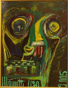 Eine Malerei des italienischen Art-Brut-Malers Ugo Mainetti, *1945, der ursprünglich Metzger war. Metzger, Art Brut, Painting, Portraits, Italy, Painting Art, Pictures, Paintings, Painted Canvas
