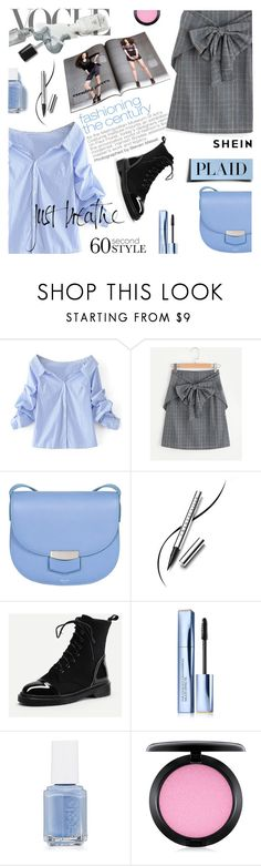 """""""60-Second Style: Work Wear"""" by lacas ❤ liked on Polyvore featuring Dolce&Gabbana, CÉLINE, Chantecaille, Estée Lauder, Essie, MAC Cosmetics, WorkWear, plaid and 60secondstyle"""