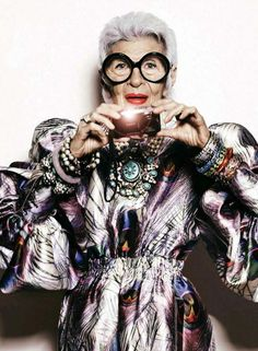 Iris Apfel in all the things holding a smartphone I LIVE