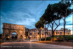 Arch of Constantine and The Colosseum at sunrise