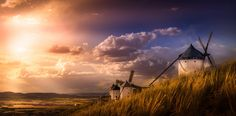 Windmill - Famous windmills in Consuegra at sunset,La Mancha, Spain.