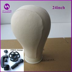 24''  Off-white beige Color Canvas Block Head For Hair Extension lace wigs Making and Display Styling Manequin Manikin Head