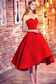 Simple red tea length prom dress, bridesmaid dress